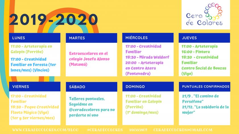 calendario talleres cera de colores 2019-2020